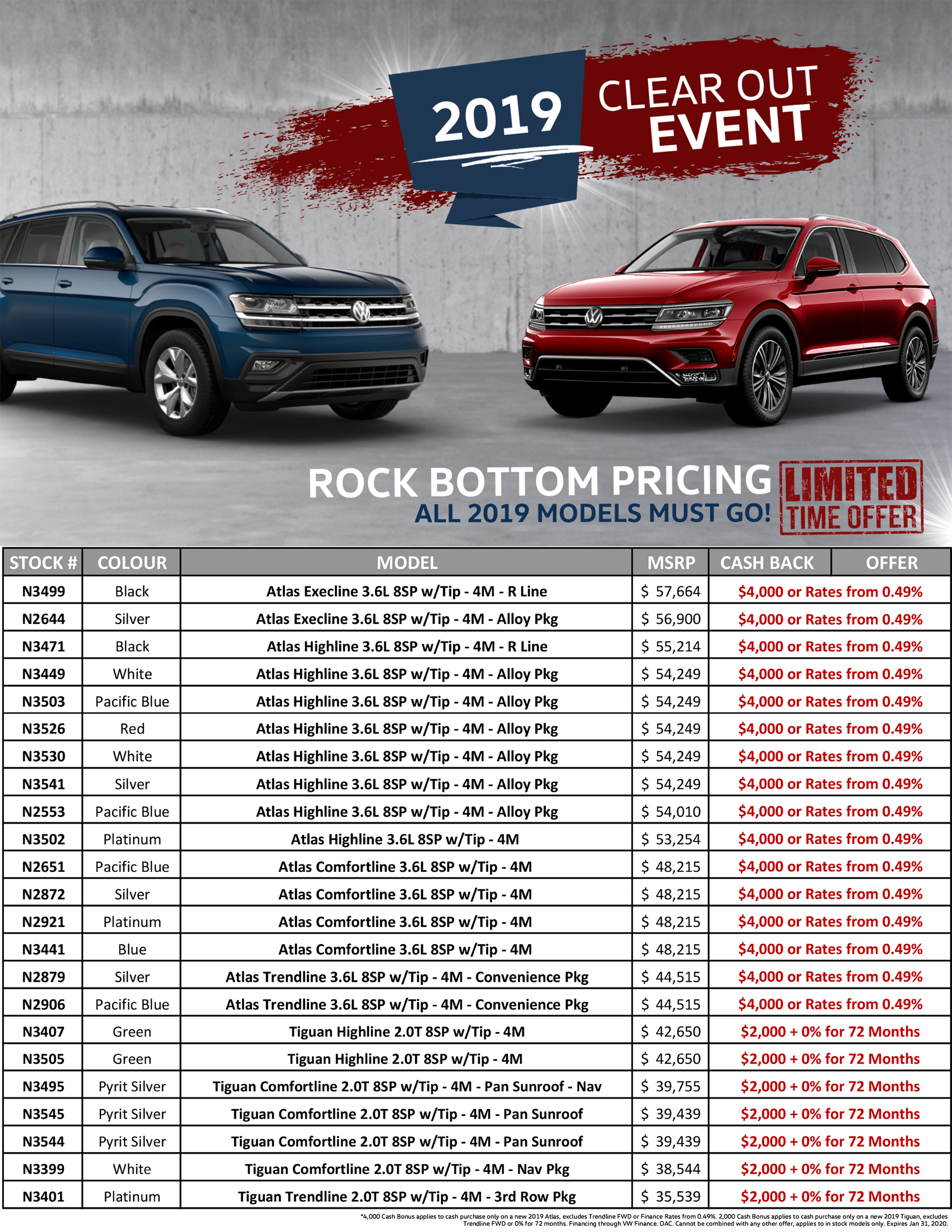 Volkswagen atlas tiguan 2019 Clear Out Event sale hunt club vw ottawa