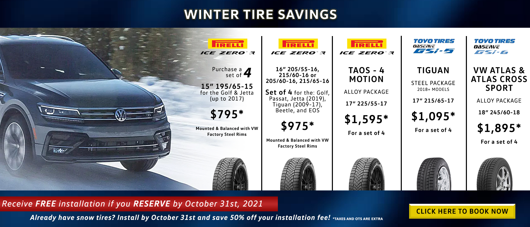 Winter tires on sale and tire installation discount at Hunt Club Volkswagen, Ottawa
