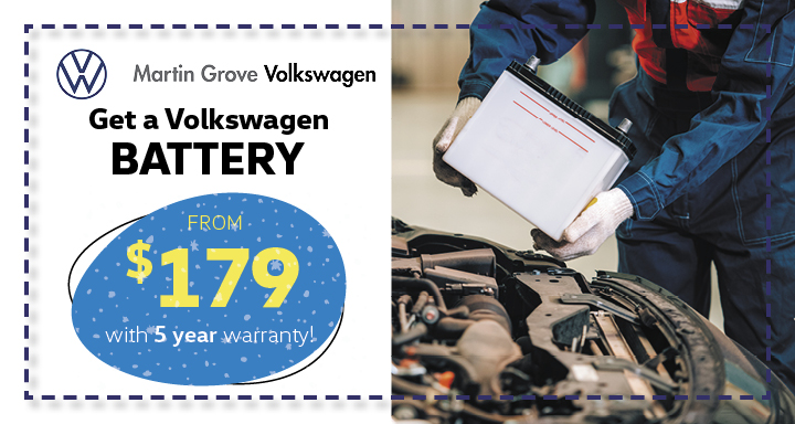 Get a Volkswagen battery from $179 with 5 year warranty!