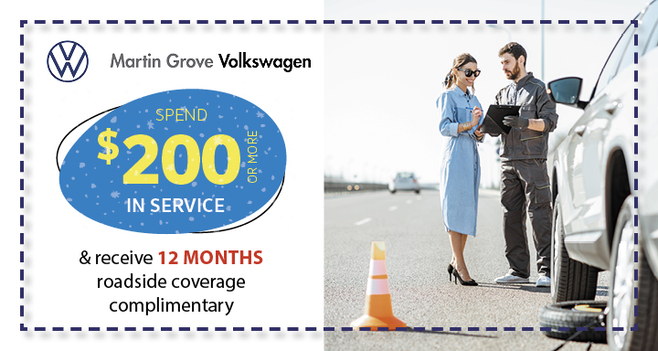 Spend $200 or more in service and receive 12 months roadside coverage complimentary