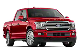 2019 F 150 Limited in front three quarter view Ruby Red Crew