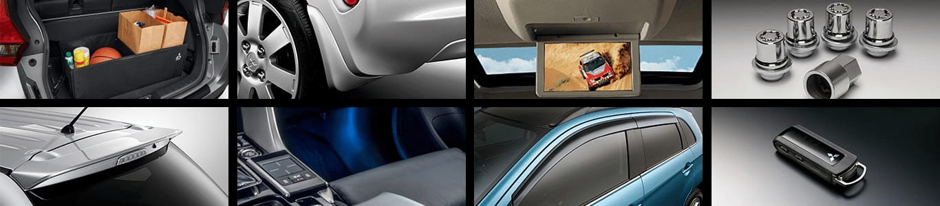 Collage of multiple Mitsubishi accessories covered by warranty