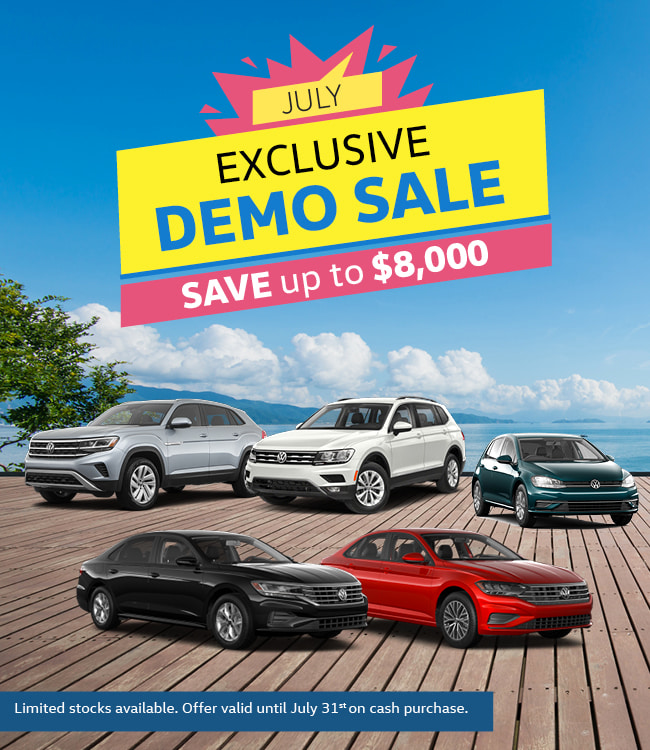 Mississauga Vw July Demo Event Specials Graphic