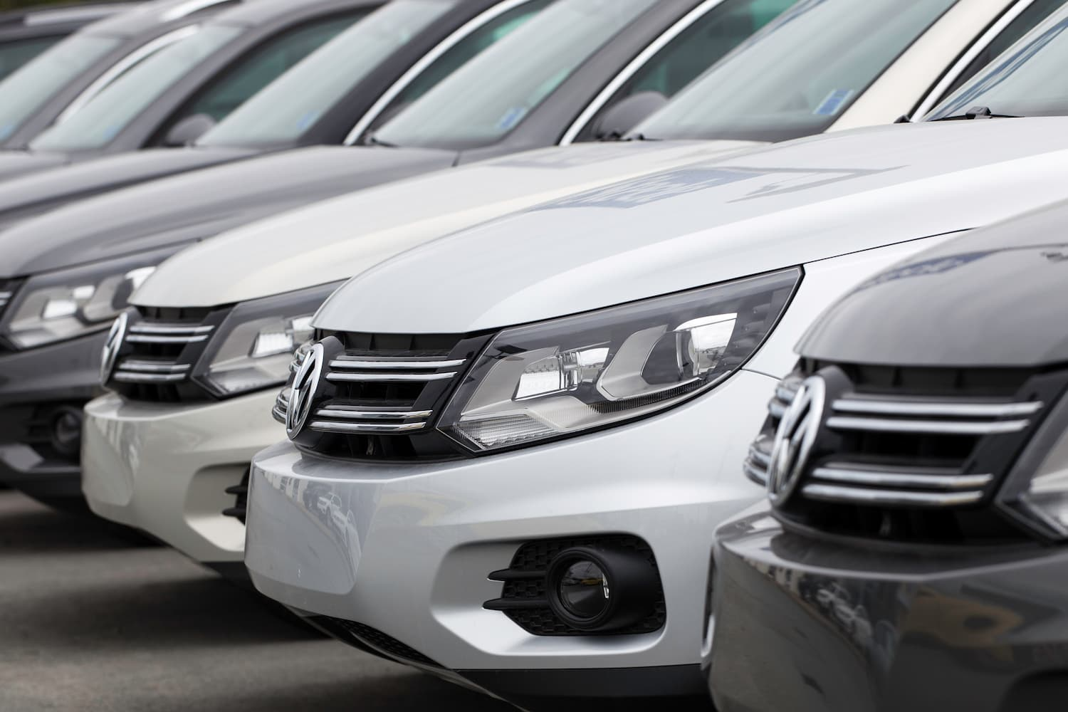 Image of VW cars parked beside each other at the dealership