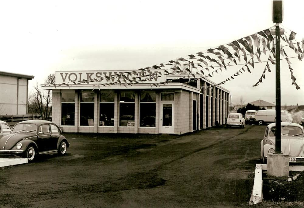 Image of the Cowell Volkswagen dealership when it was first built in 1967